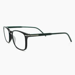 Black Thin Rimmed Classic Square Reading Glasses with  Green Temples Side View