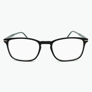 Black Thin Rimmed Classic Square Reading Glasses with  Green Temples