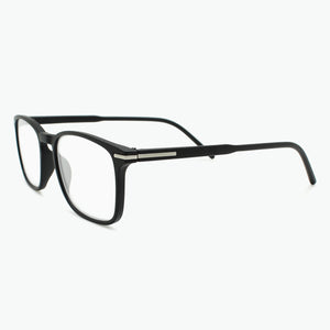 Matte Black Thin Rimmed Classic Square Reading Glasses Side View