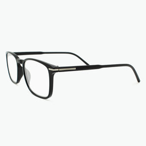 Shiny Black Thin Rimmed Classic Square Reading Glasses Side View