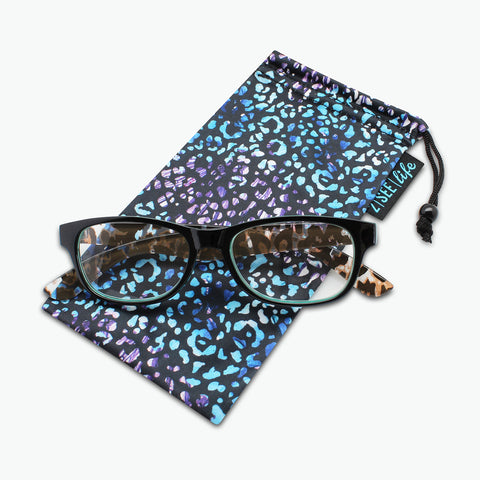 Classic Square Reading Glasses with Animal Print Temples l Fully Magnified Lenses R-815