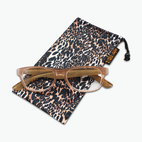 Classic Square Reading Glasses with Animal Print Temples | Fully Magnified Lenses R-815