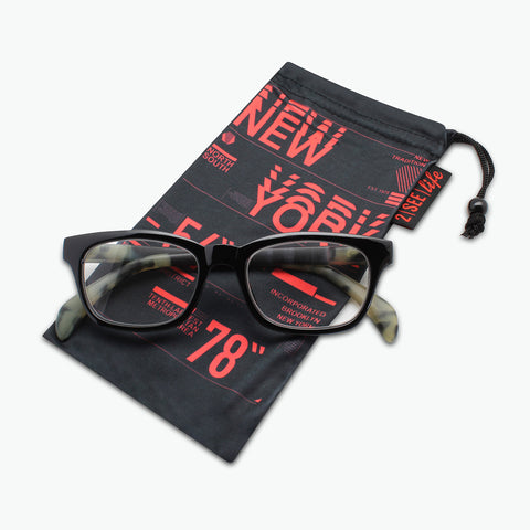 Retro Square Frame Reading Glasses with Faux Horn Temples for Men or Women l Fully Magnified Lenses R-817