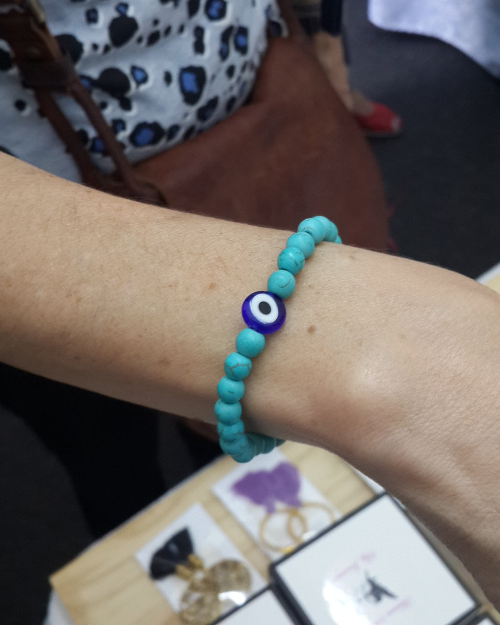 Blue Howlite and Evil Eye Bracelet