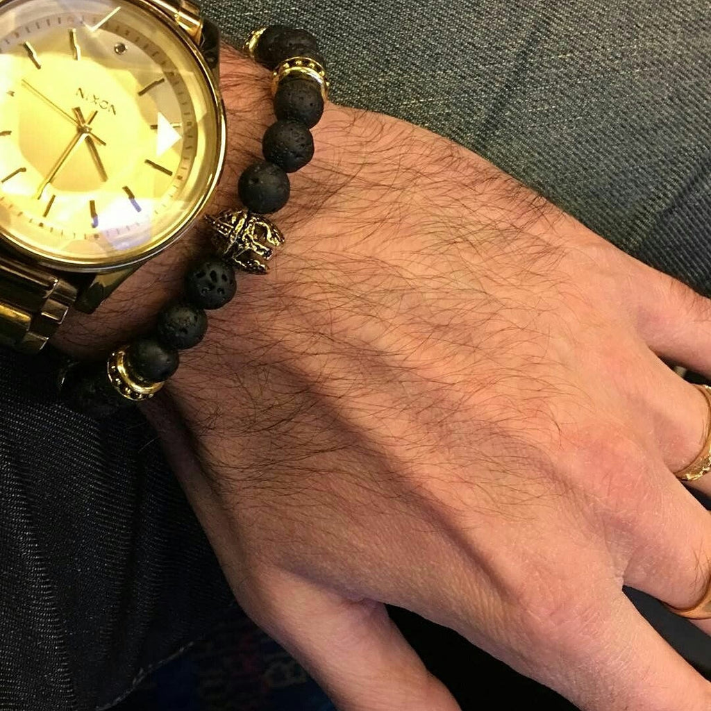 Trojan Warrior Lava Rock Bracelet in Antique Gold