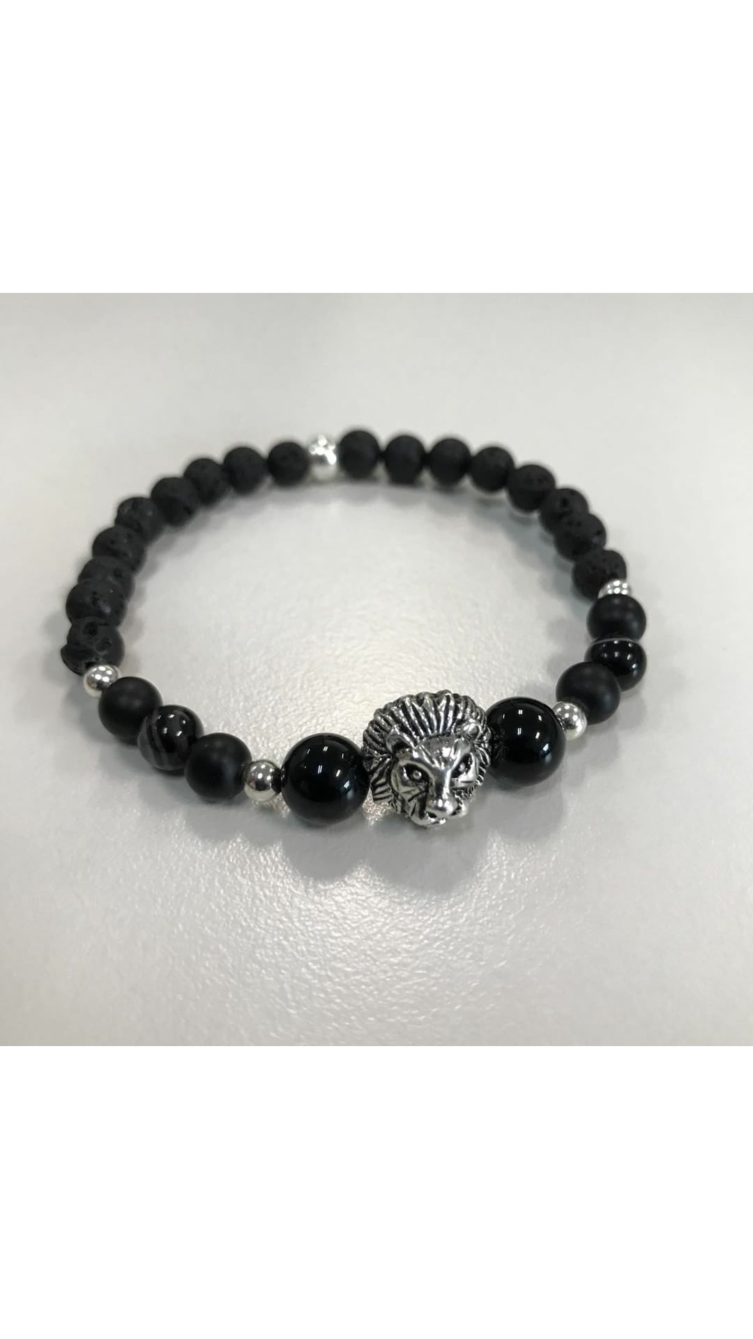Black Onyx, Agate and Lava Rock Lion