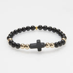 'Mary' Gold Agate Cross #462