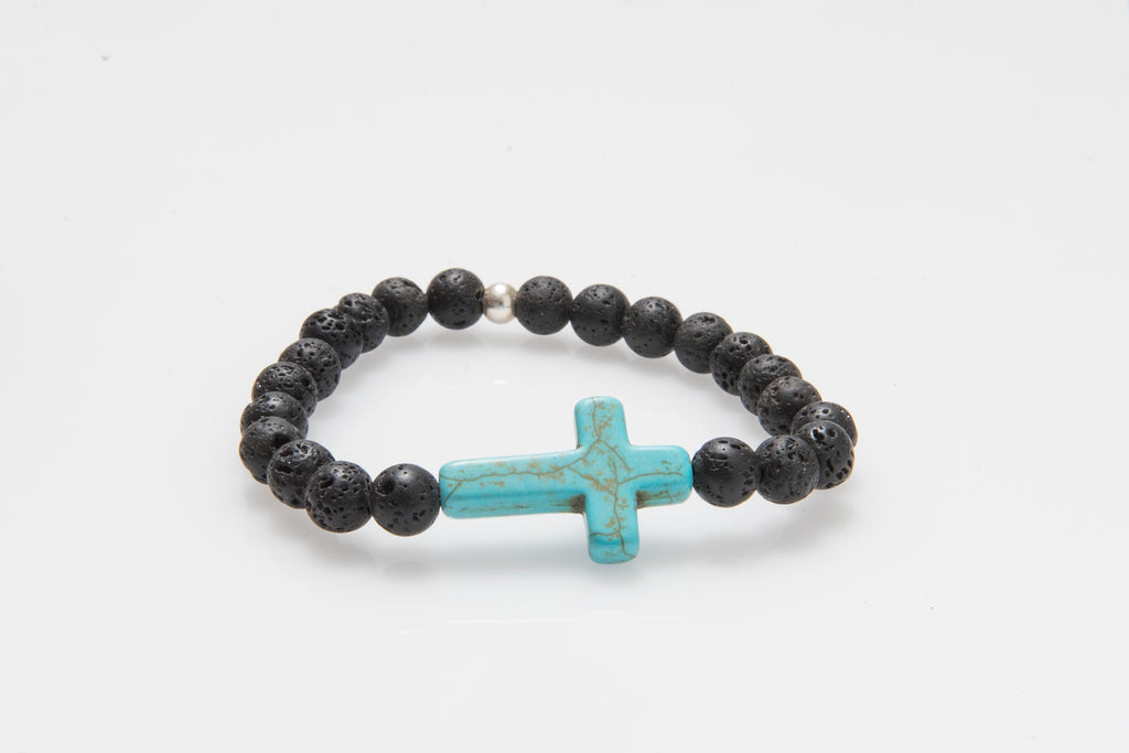 'Christo' Turquoise Howlite Cross and Lava Rock #294