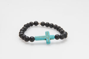 Turquoise Howlite Cross and Lava Rock