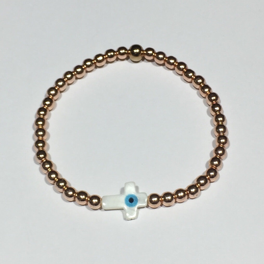 Shell Eye of Protection Cross Rose Gold Bracelet