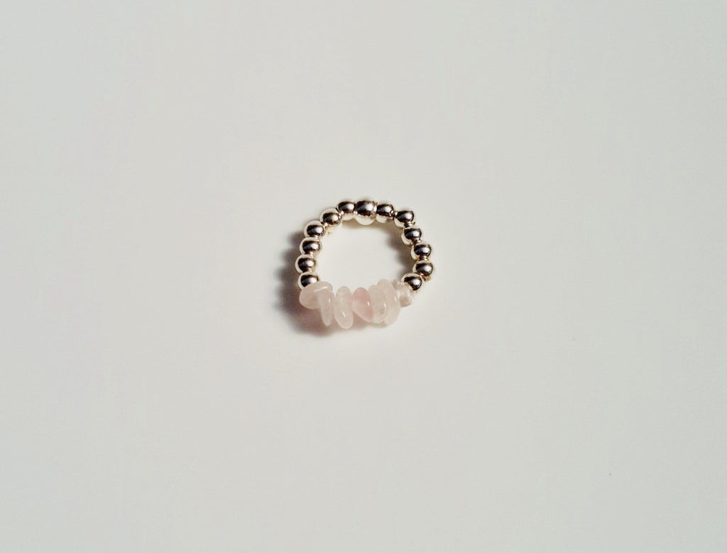 """Pink Ribbon"" Rose Quartz and Silver Ring"