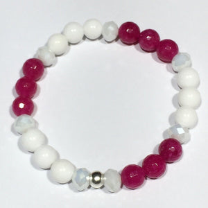 Faceted Jade and Pearlised Crystal Bracelets