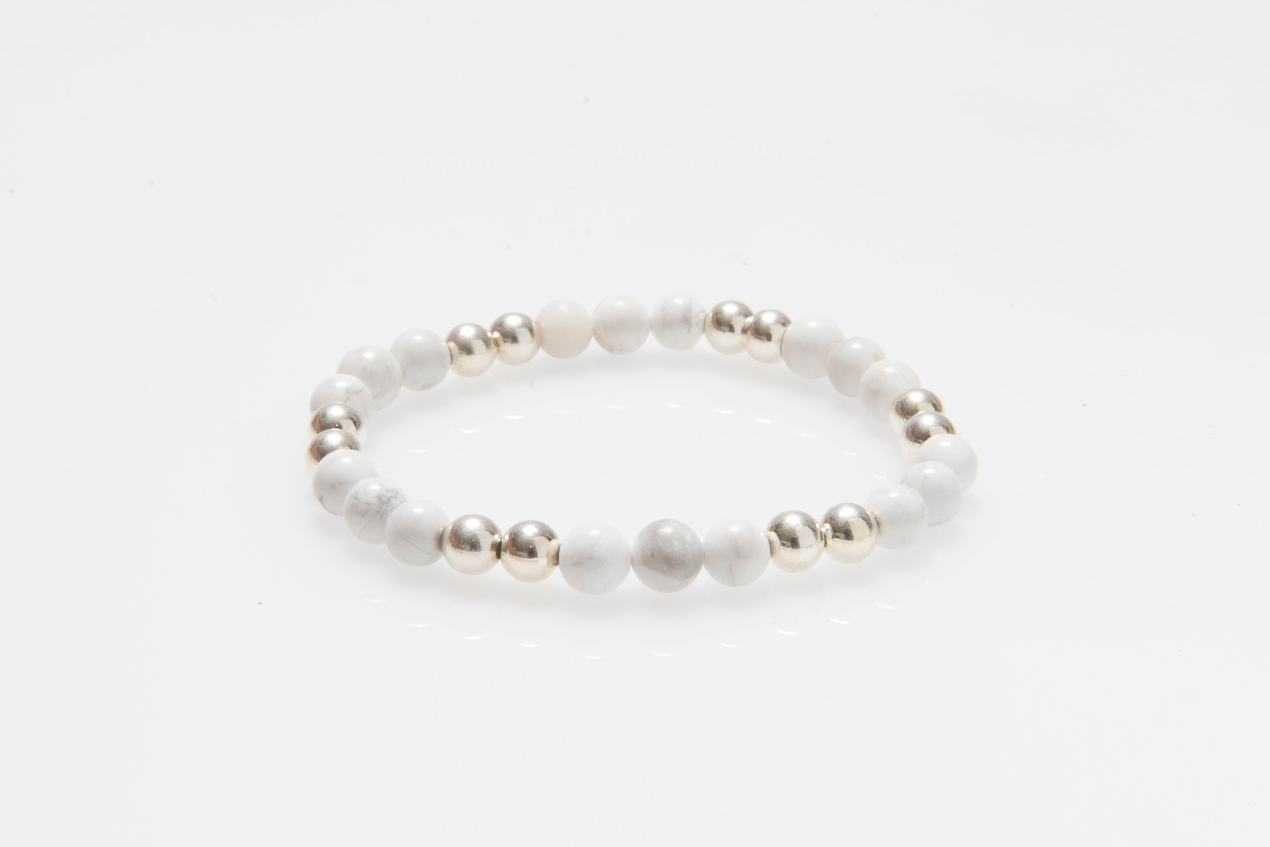 Marble Howlite and Silver Stacking Bracelet