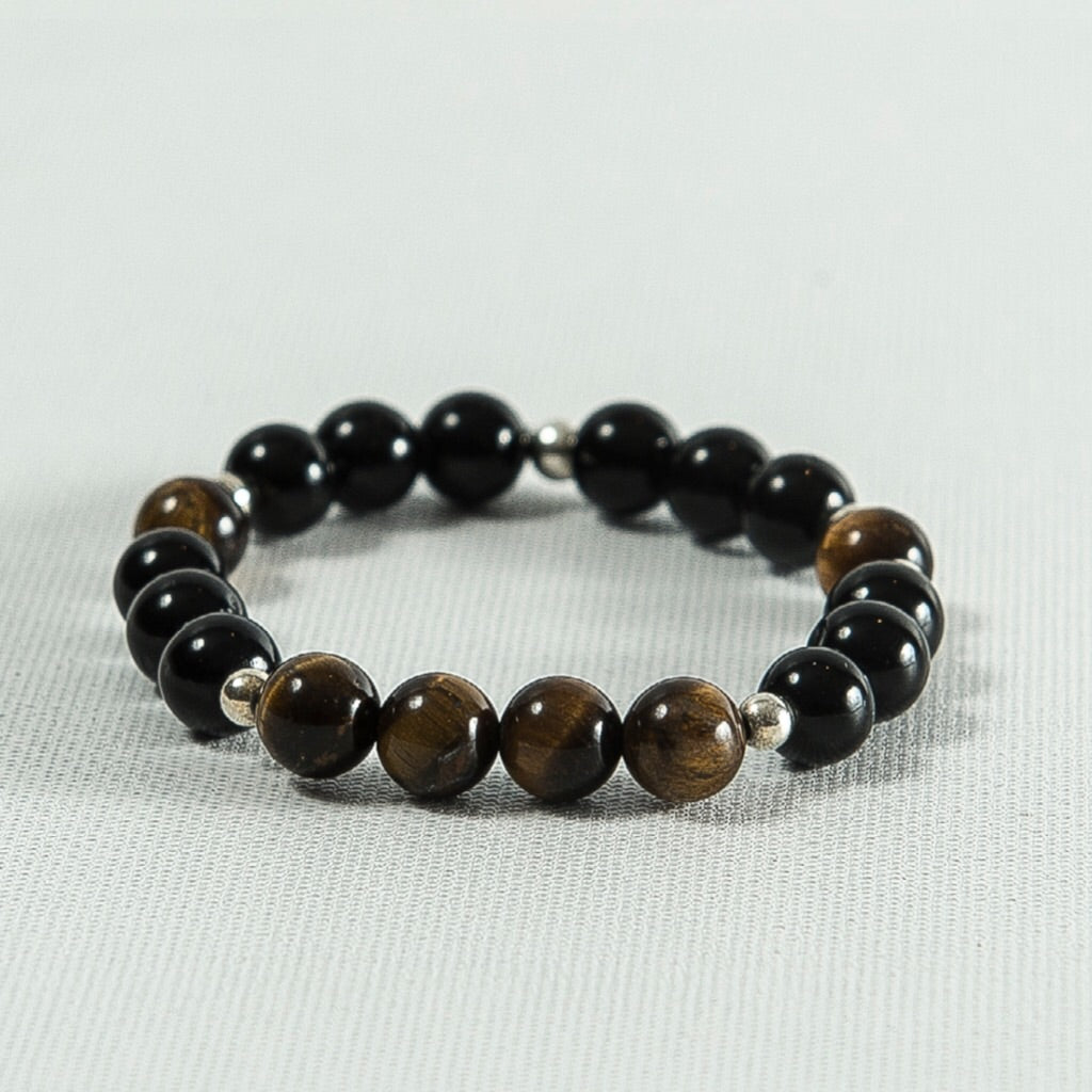 Tiger Eye and Black Onyx Bracelet #329
