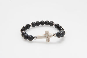 'Christian' Howlite Cross and Black Lava and Onyx Beads