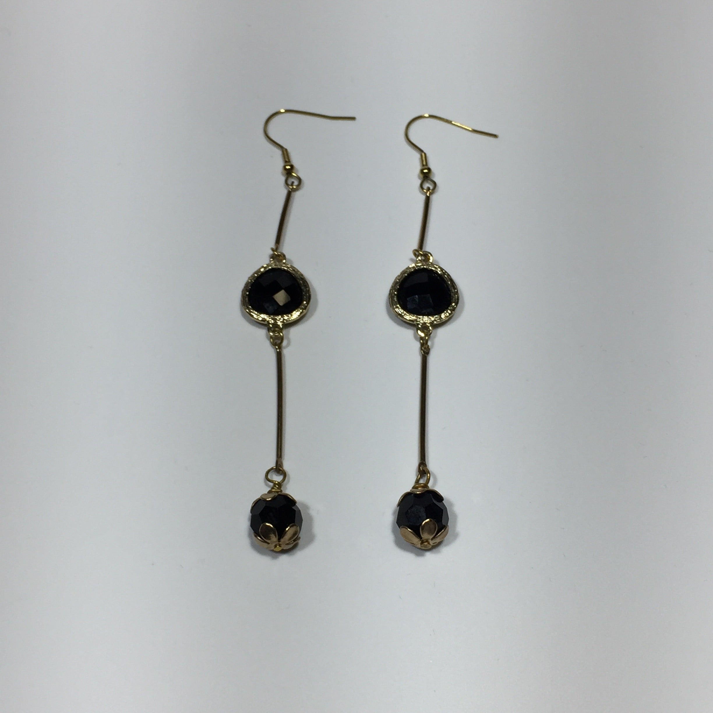 Black Crystal Gold Drop Earrings No.53