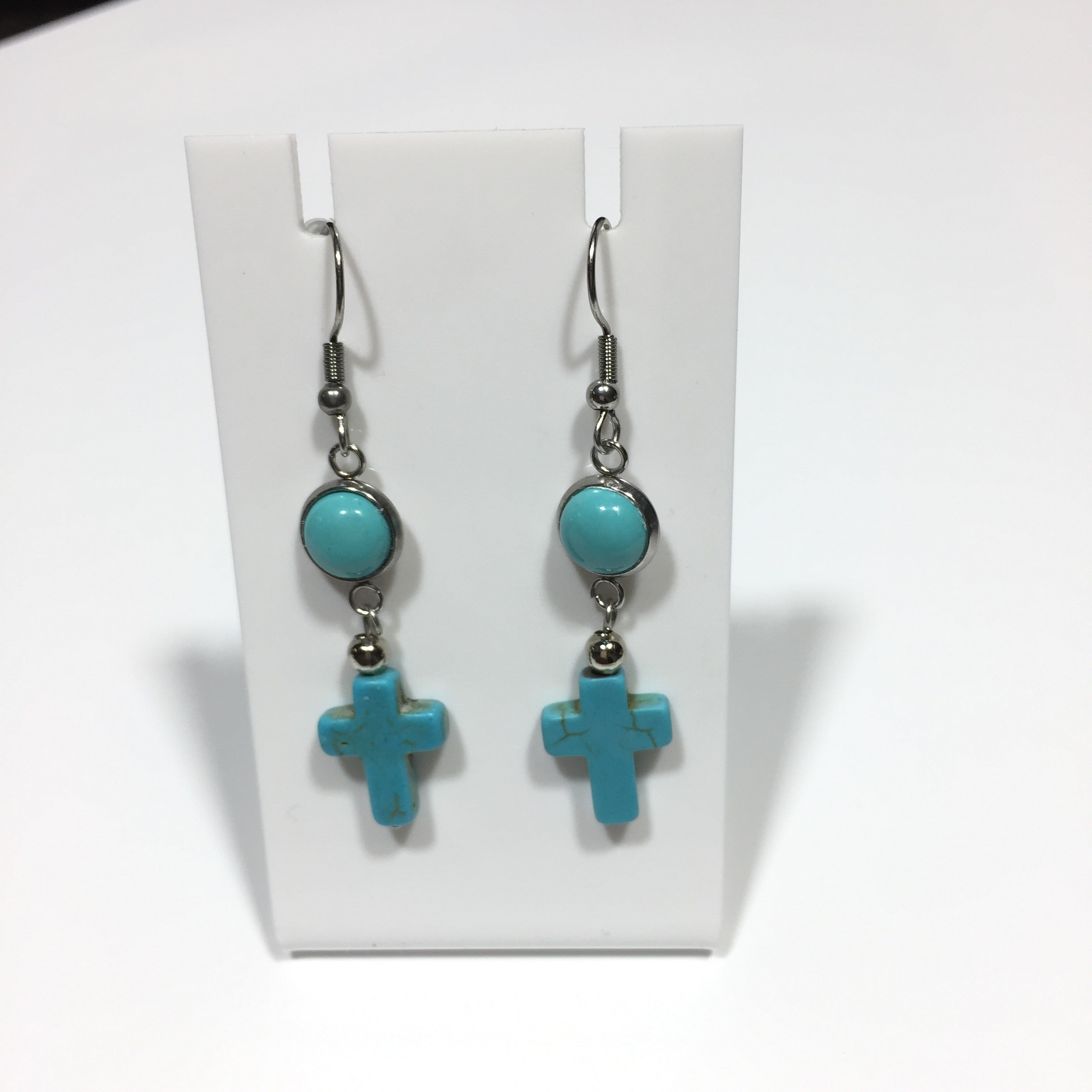 Blue Howlite Cross Drop Earrings #374