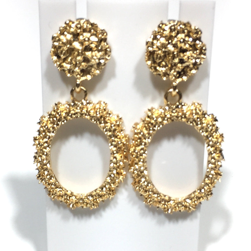 'Kore' Oval Drop Statement Earrings