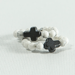Black Stone Cross Rings