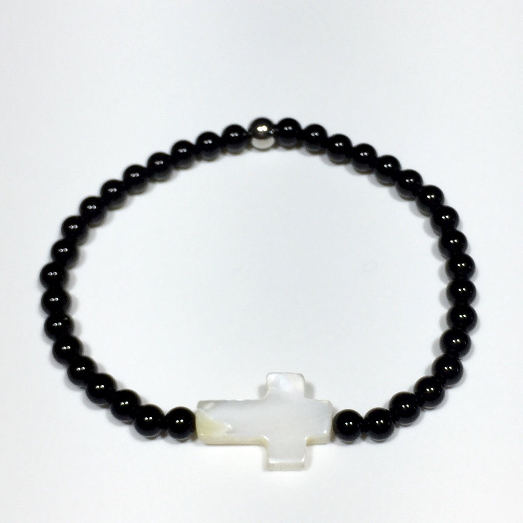 Shell Cross and Black Onyx Beads