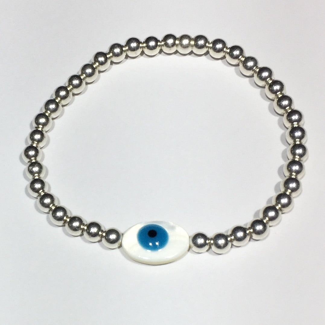 Shell Eye of Protection Silver Bracelet