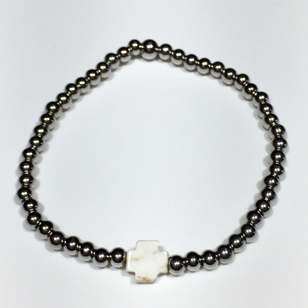 Mini Howlite Cross 4mm Bead Bracelet