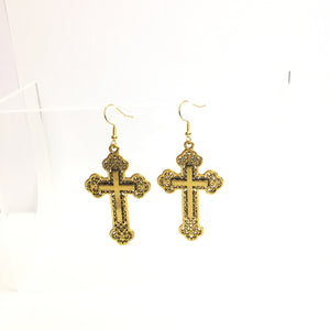 'Christina' Large Cross Filigree Earrings - Almost gone