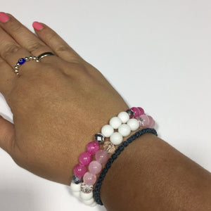 Pink Jade and Clear Crystal Bracelets