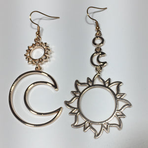 Rose Gold Sun and Moon Drop Earrings No.67