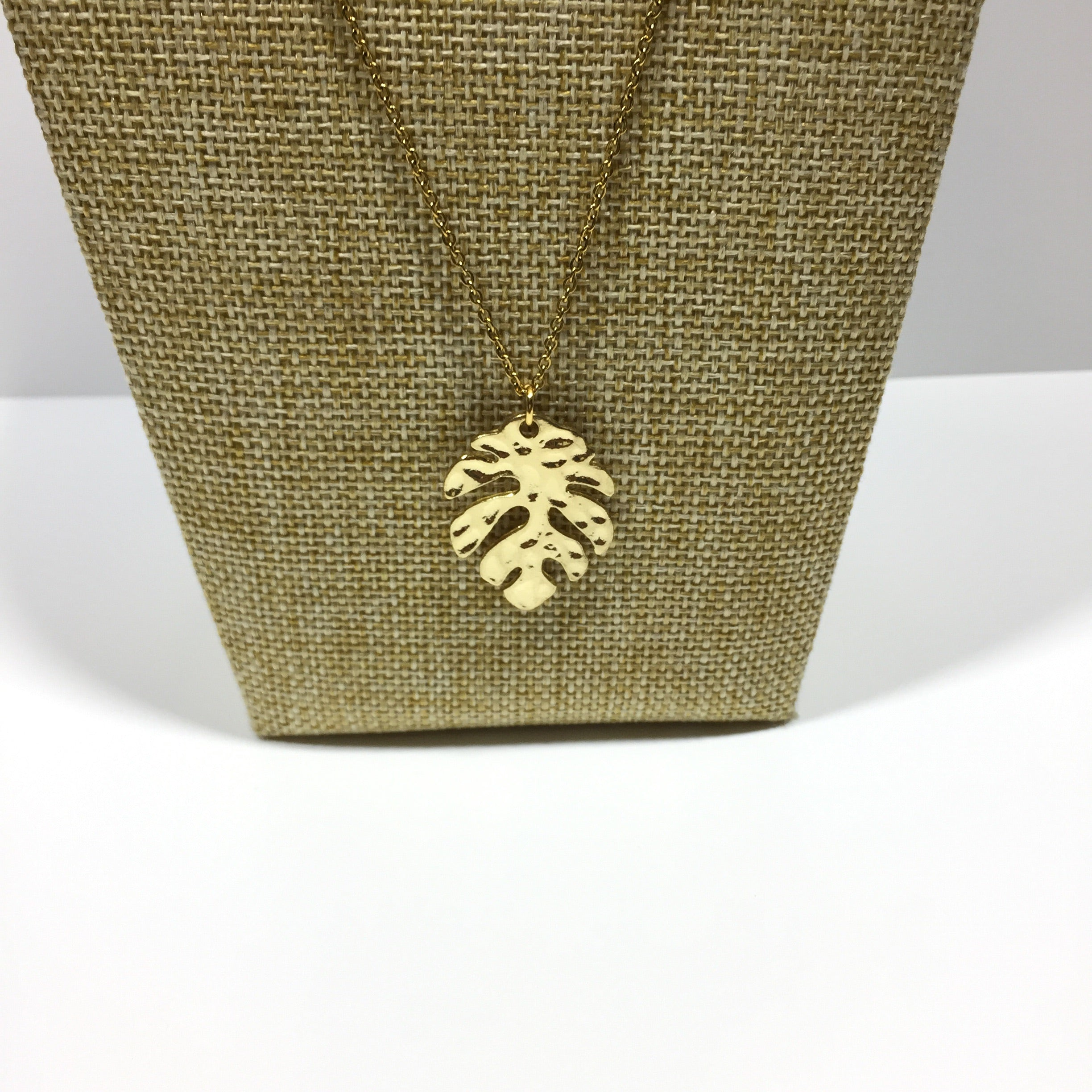 Gold Hammered Monstera Leaf Necklace