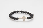 'Christo' Large Howlite Cross and Lava Rock