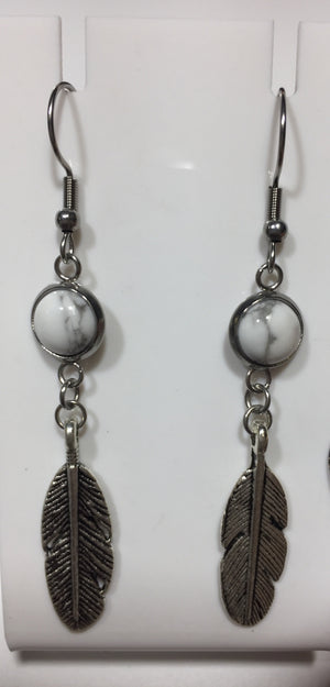 Cabochon Leaf Earrings No.18