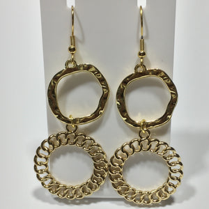 Hammered and Chain Look Gold Earrings