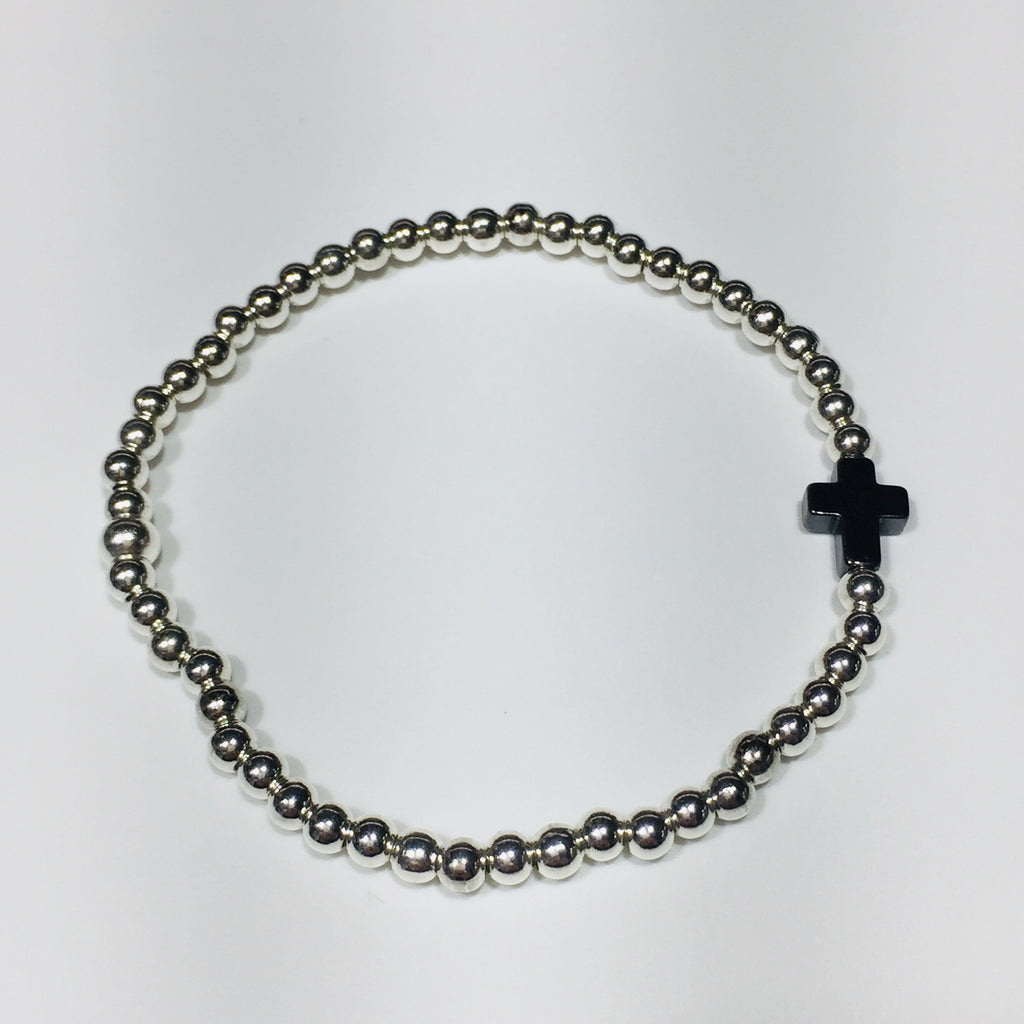 Hematite Mini Cross Bracelet