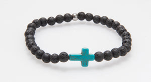 Howlite Cross and Lava Rock