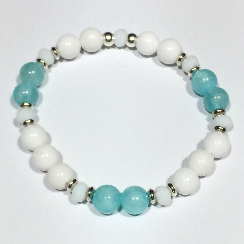 Jade and Stainless Steel Crystal Bracelets