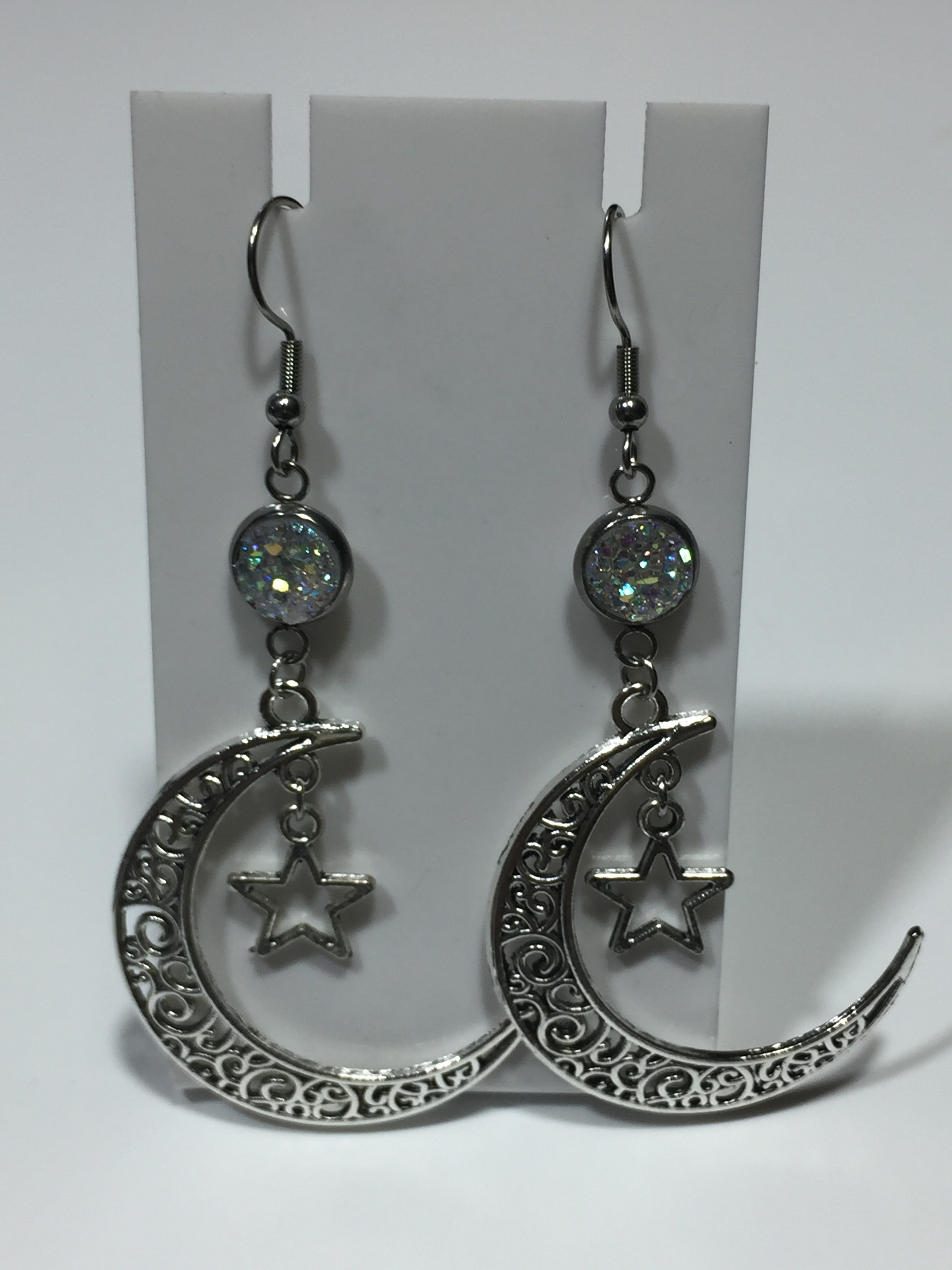 Star and Filigree Moon Earrings