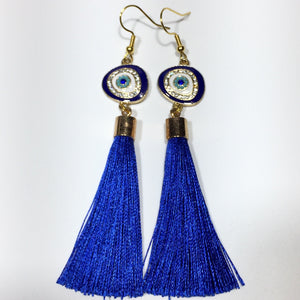 Blue Tassel Crystal Eye Earrings No.54