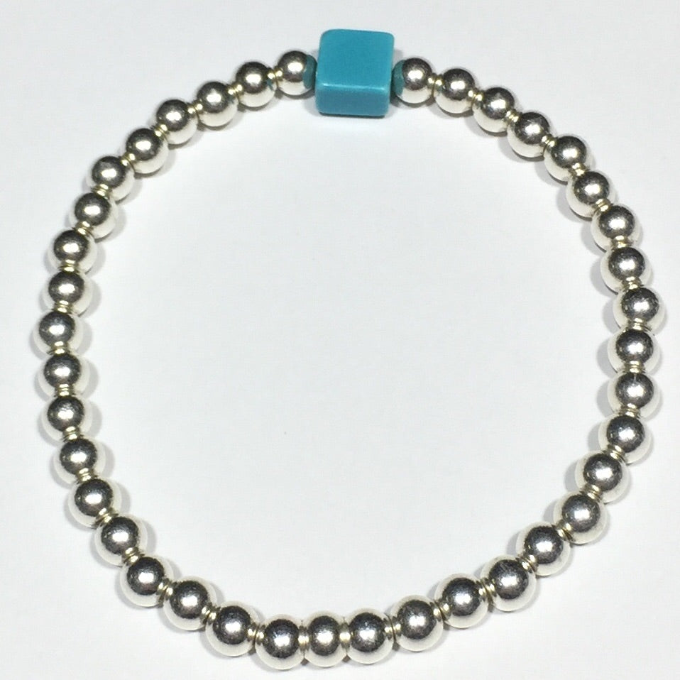Protection Blue Howlite Silver Bracelet #307