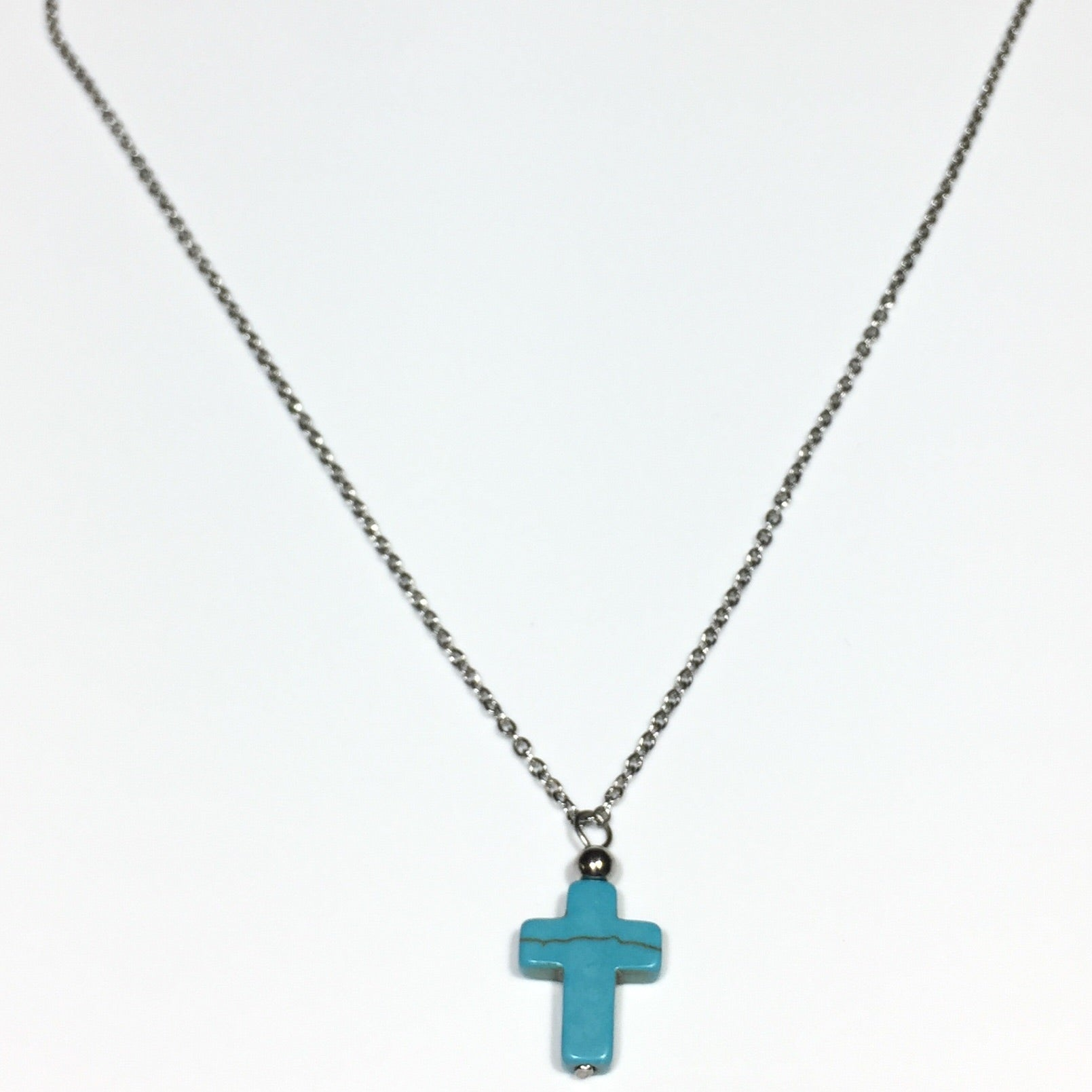 Howlite Cross Stainless Steel Necklace
