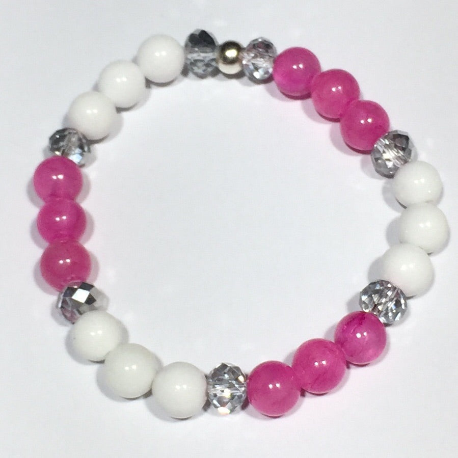 Hot Pink Jade and Silver Crystal Bracelets
