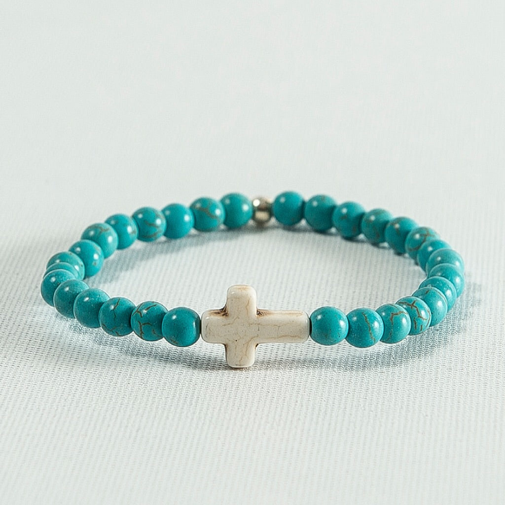 Blue Howlite and White Howlite Cross