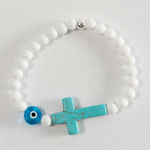 White Jade Cross and Eye #111