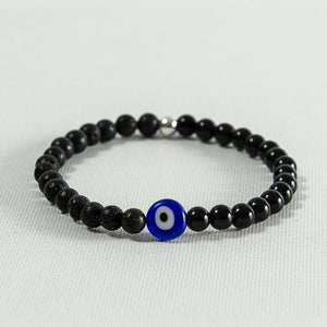 Black Onyx and Lava Rock Evil Eye Bracelet