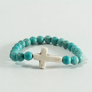 Turquoise Howlite with White Howlite Cross