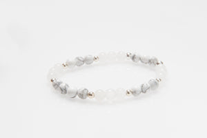 Quartz and Marble Howlite Beads with Silver