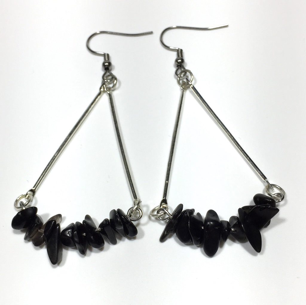 Stone Chip Earrings with Stainless Steel Hooks No.56