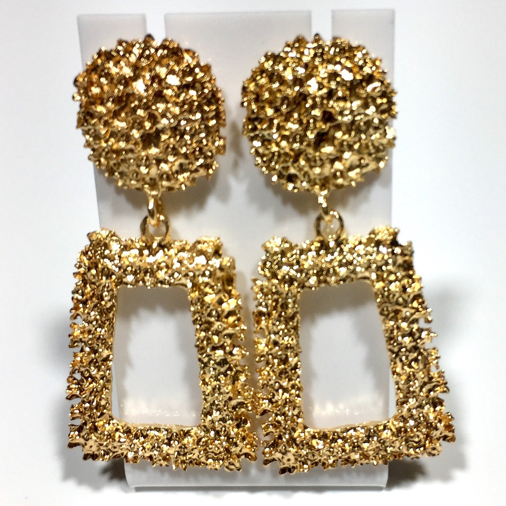 'Kore' Trapezoid Drop Statement Earrings