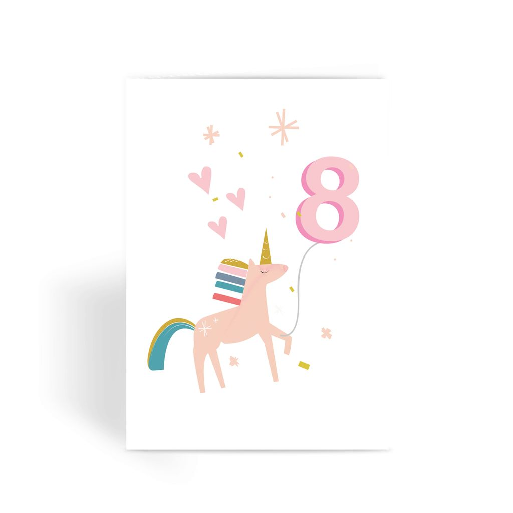 Unicorn Birthday Card With Number Balloon Age 8
