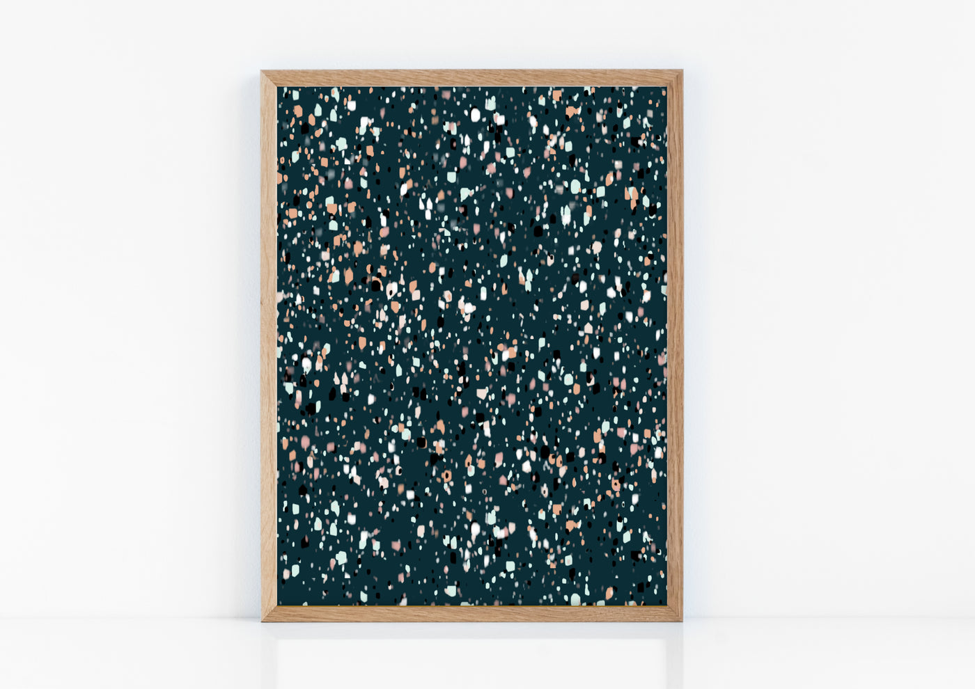 Peacock Blue Terrazzo Dream Modern Art Print